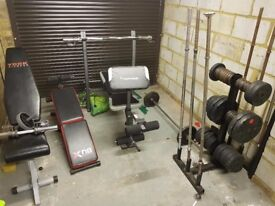 Gym set weights, benches and weights