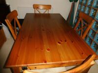 Dining Room Table and 4 Chairs Solid Wood Pine Colour with Extension Leaf