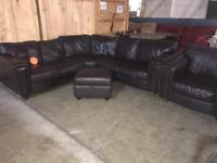 Dark brown corner sofa arm chair and foot stool in clean condition