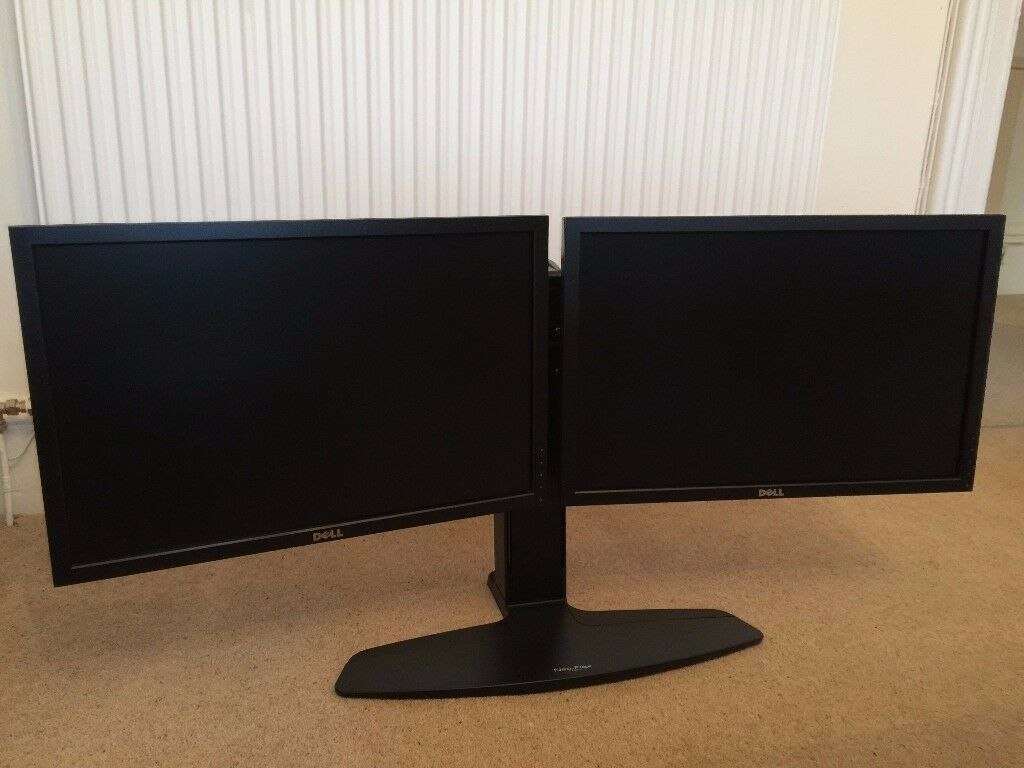 Dual 22in Monitor set up with adjustable stand (2 x DELL P2210f)