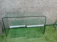 solid glass nest and consul table