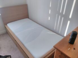 Single wooden bed frame with 2 under storage drawers