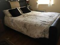 Real Leather Sleigh Style Bed Frame