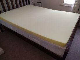Memory foam mattress topper, 3 inch - UK Double
