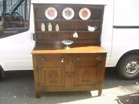 Most Superb Quality Oak Gothic Style Plate Rack Sideboard Dresser by Webber Of Croydon