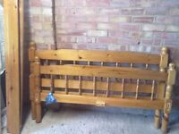 pine double bed frame and chest of drawers