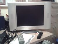 "Grundig GUVL1500 15""flat screen (thin) use as a TV or Monitor, silver, NOT freeview"