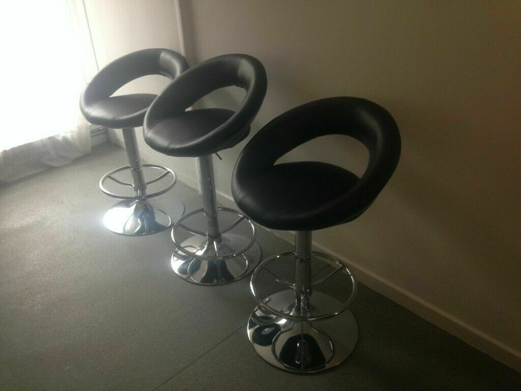 Cool 3 Dwell Bar Stools With Moon Type Black Leather Adjustable Seat Hardly Used As New Cost 129 Each In Islington London Gumtree Caraccident5 Cool Chair Designs And Ideas Caraccident5Info