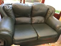 Leather 2 seater green settee