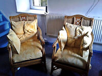 2x cane/wicker chairs very comfy carved back inserts very nice chairs fully cleaned ready to go