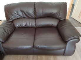 2 seater sofa, chocolate brown leather, very good condition, back section is detachable