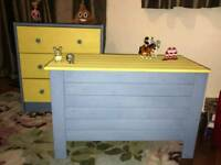 Matching children's furniture. Chest of drawers and toy storage box