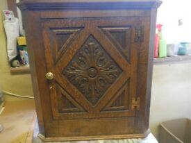 Corner Cabinet -dark wood with one shelf