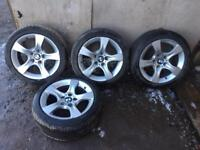 """Set of 4 17"""" bmw alloy wheels with tyres"""