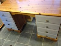 8 DRAWER PINE DRESSING TABLE /DESK TOP NEEDS SANDING AND THE DRAWER FRONTS HAVE BEEN PAINTED LIGHT B