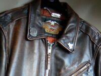 HARLEY DAVIDSON Brown Leather Jacket size Med.40/42-Lovely condition