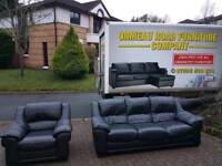 3+1 black leather sofa in as new condition