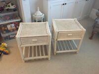 2 x white wicker bedside tables