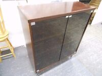 2 door Glass bookcase Cupboard with adjustable shelves. and chrome legs. can deilver