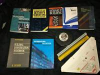 Various construction surveying books, triangle, scale rules & measuring tape