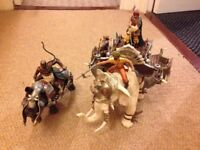 Schleich Elephant and rhino for battle with figures.