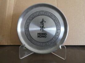 Pewter dish with display stand from Hong Kong