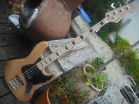 Harley Benton Vintage series Jazz electric bass guitar natural ash block and bound neck