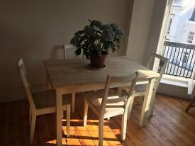 Set of 4 solid wood chairs and matching table