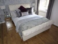 Cream leather King size bed excellent condition
