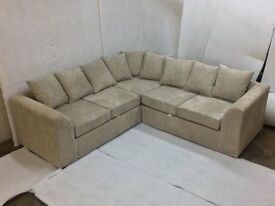 SPECIAL OFFER: BRAND NEW LIVERPOOL JUMBO CORD CORNER SOFA, COMES WITH 1 YEAR WARRANTY!!!