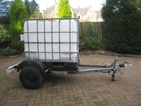 Trailer with galvanized chassis,600 litre water tank,brakes,jockey wheel,spare wheel,road lights.
