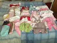 Large boundle of baby girl clothes size 0-3 months , pram suit and shoes