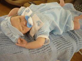 Reborn doll, baby boy Logan asleep, Realborn by Denise Prat reborned by me, dummy,