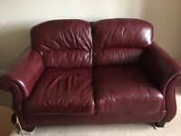 two seater wine red sofa/ arm chair\ foot stool