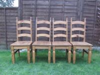 Set of 4 farmhouse dining chairs solid wood ladder back chairs chunky wood FREE DELIVERY