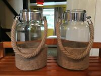 Large Glass Jar Candle Lantern With Rope NEW - Garden Lantern - Bargain
