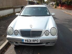 MERCEDES E320 ELEGANCE ESTATE 2001 ONE OWNER ONLY 106K SILVER WITH BLUE LEATHER