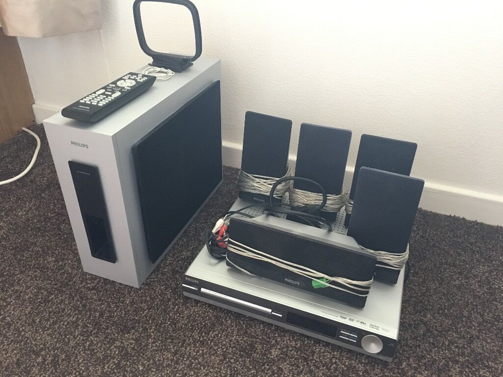philips home theatre system 5 1 surround sound in. Black Bedroom Furniture Sets. Home Design Ideas