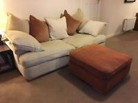 Large 3 seater fabric sofa & footstool