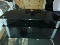 Three Tier Black Glass TV Stand