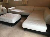 Designer L-Shaped cream leather 3 piece suite plus wide foot stool. excellent condition.