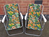 5x retro vintage floral striped folding camping