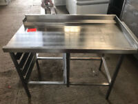 STAINLESS STILL TABLE FOR PAST TROUGH DISH WASHER- Used