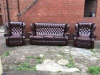 LEATHER CHESTERFEILD 3 PIECE SUITE 2 RECLINER CHAIRS ANTIQUE BRWON LEATHER CAN DELIVER £1000