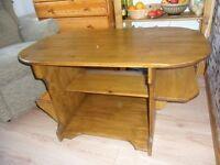 wooden table H 52 cm, W 52, L 91 , newspaper shelves , on wheels