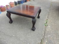 Coffee Table Dark Wood Low With Turned Legs