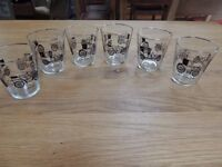 Set of six vintage motoring glasses featuring early French cars