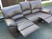 2+3 seater leather reclining sofas v.good condition