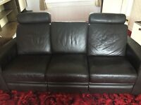 Brown Leather Reclining 3 Seat Sofa