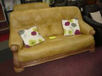 Mustard Yellow, Quality Leather 2 + 3 Seater